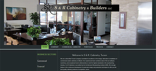 SR Cabinetry website screen shot